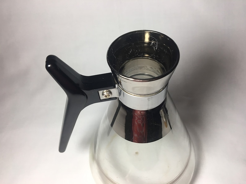 Atomic Inland Glass Coffee Pot Carafe 4 cup Chrome Banding Chrome Stripes Aluminum Corked Top Black Handle Mid Century Modern Vintage Retro