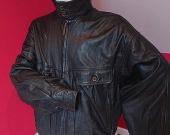 a545f3e04 Vintage Men's Leather Bomber Style jacket Roger David size | Etsy
