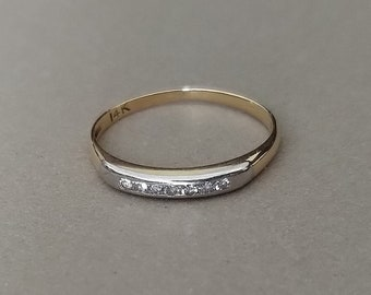 Vintage 14K Solid Yellow and White Gold and Natural Diamonds Stacking Ring Band or Anniversary Ring; Two-Tone Diamond Band