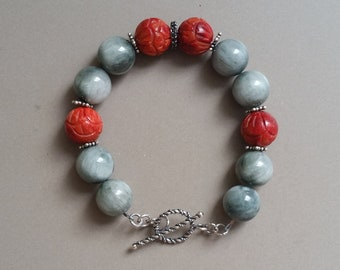 Handmade Natural Falcon's Eye, Carved Red Coral, and Sterling Silver Beaded Bracelet