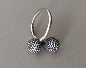 Vintage Sterling Silver Bubbles Ball Bypass Ring
