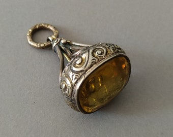 Antique Georgian Rolled Yellow Gold Citrine Paste Watch Chain Fob; Yellow Gold Cased Watch Fob