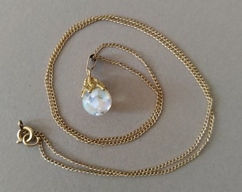 Vintage 12K Yellow Gold Filled Floating Opal Pendant on 18 Inch Curb Link Gold Filled Chain; Floating Natural Opal Gold Necklace
