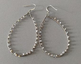 Vintage Natural Pearl Gold Plated Sterling Silver Oval Dangle, Drop Earrings, Boho Pearl Earrings, Gold Pearl Earrings