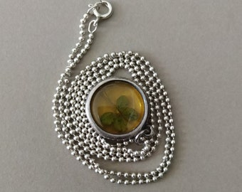 Antique Sterling Silver Real Four Leaf Clover Pendant or Charm on Vintage 19'' Sterling Silver Beaded Chain; Silver Lucky Four Leaf Clover