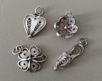 Vintage Sterling Silver Filigree Tiny Pendants or Charms; Your Choice of Tiny Sterling Silver Pendant or Charm