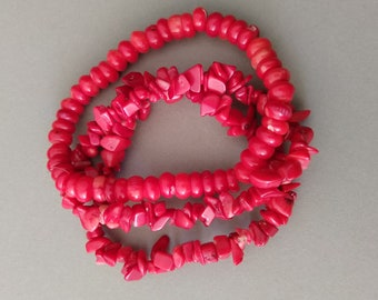 Vintage Natural Red Dyed Rondelle and Chip Coral Stretch Bracelet Lot; Red Coral Beads for Jewelry Making