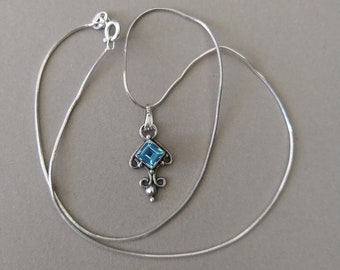 Vintage Sterling Silver Topaz Pendant on 15.5'' Sterling Silver Snake Chain; Blue Stone Dainty Layering Pendant