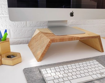 Monitor Stand / iMac Stand in Stunning Patterned Ply Wood