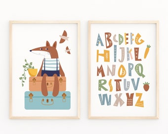 Educational Kids Room Print, Animal  Neutral Color Poster, Enjoyable Alphabet Print