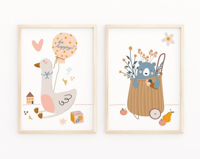 Playroom Duck and Bear Print, Enjoyable Kids Room Decor, Neutral Colors Animal Art