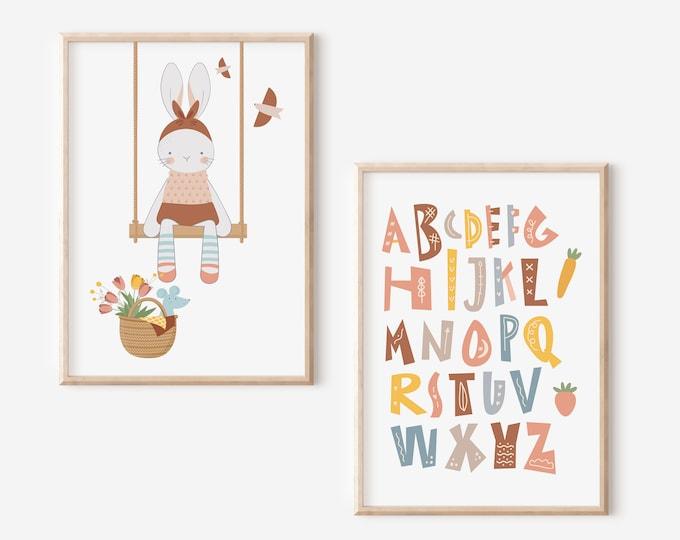 Swing Bunny Girl Poster, Kids Playroom Wall Decor, Educational Kids Room Poster, Enjoyable Alphabet Wall Art