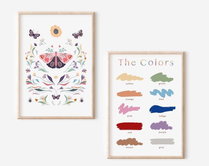 Learning Colors Educational Poster, Montessori Learning Colors Decor, Pastel Colors Butterfly Wall Art