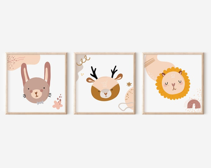 Cozy Nursery Room Art,  Prints Set of 3, Printable Animal Wall Art, Enjoyable Pastel Colors Animal Art