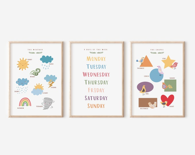 Set of 3 Educational Posters, 7 Days Of The Week Wall Poster, Weather Learning Kids Room, Montessori Enjoyable Shapes Wall Art