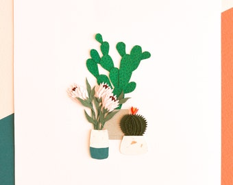Spring Bloom Art, Protea Flower and Cactus Art, Colorful Cactus Poster, Floral Paper-Cut Wall Art