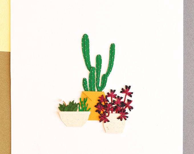 Exotic Trio Handcut Botanic Poster, Little Jungle Plant Decor, Tiny Cactus Poster Art