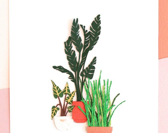 Indoor Houseplants For Living Room, Miniature Plants Poster, Bohemian Botanic Wall Decor, Spring Style Plants Poster, Plant Arrangement Art