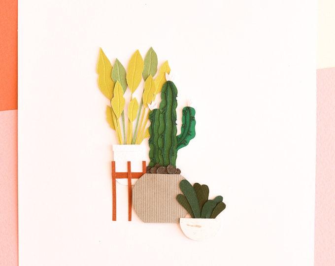 Orijinal Handcut Poster, Indoor Cactus Family Art, Modern House Cactus Arrangement