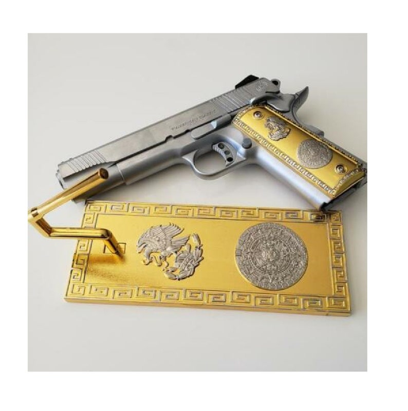 1911 Grips Full Size Government Mag Release Ambi Cut With Gun Stand Gold  Plated 1911 grips Aztec grips