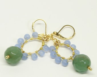 Sculpted Large Jade Stone with Polished Blue Agate Stones 14k Gold Filled Wire Wrapped Lever Back Dangle Earrings