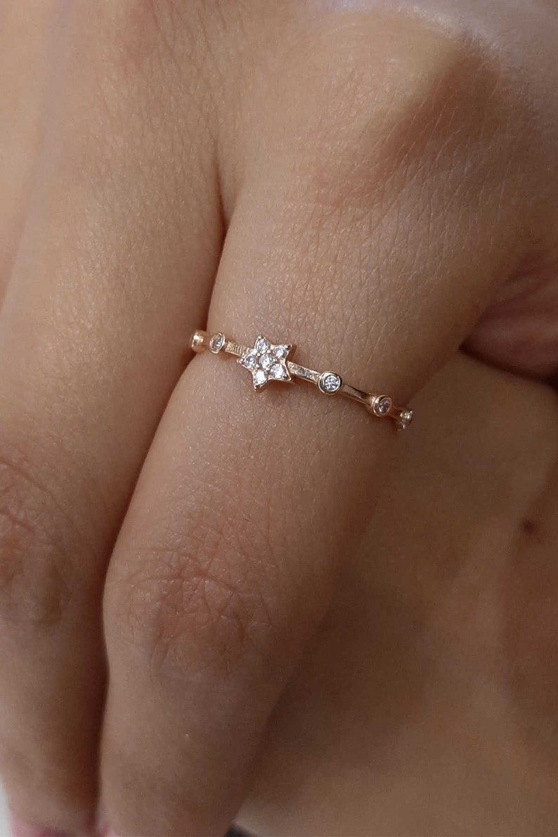 Stackable Ring North Star Star Gold Jewelry Rose Gold Star Solid Gold Ring YZK0122 Row Stones Ring 14k Stacking Star Gold Ring