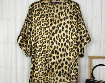 Vintage 80s 90s Blue Blouse Leopard Print Button up Blouse Short Sleeves Shirt Bright Color Back To School Animal Print Padded Size