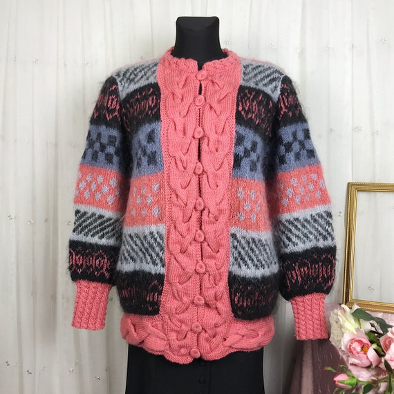 Vintage Women's Handmade Hand knitted Mohair Overs