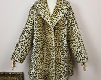 Vintage Leopard Faux Fur Coat Tissavel France Jacket Animal Print 70s 1970s 1960s 60s
