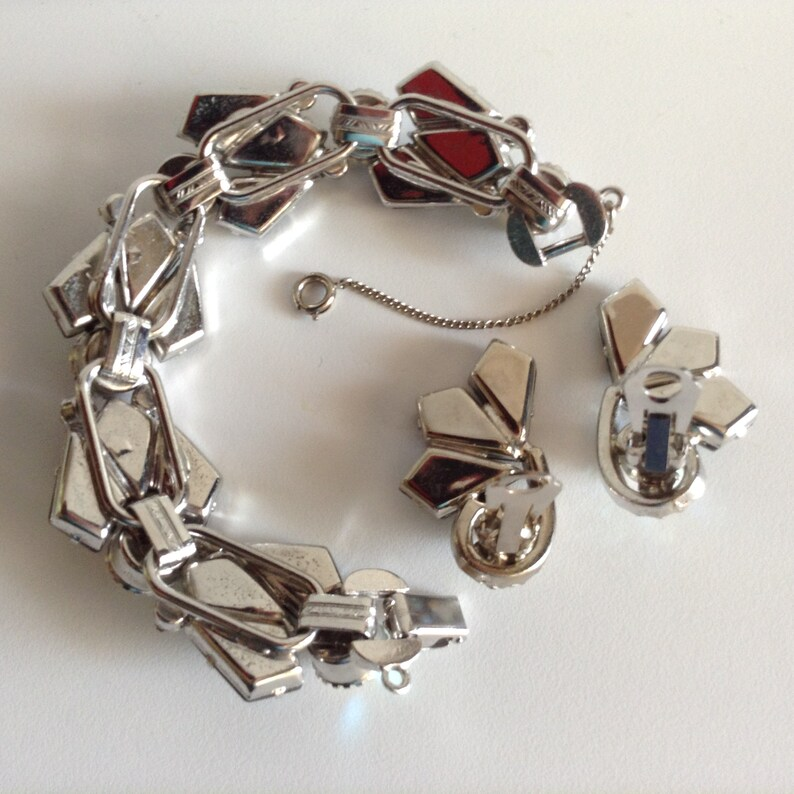 Vintage Juliana D /& E BIG Headlight AB Rhinestones Bracelet Smoky Kite Stone Demi Earrings!