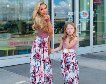 0026abdbd Mommy and me outfits matching dress floral maxi dress girl dresses mom and  daughter long summer outfit