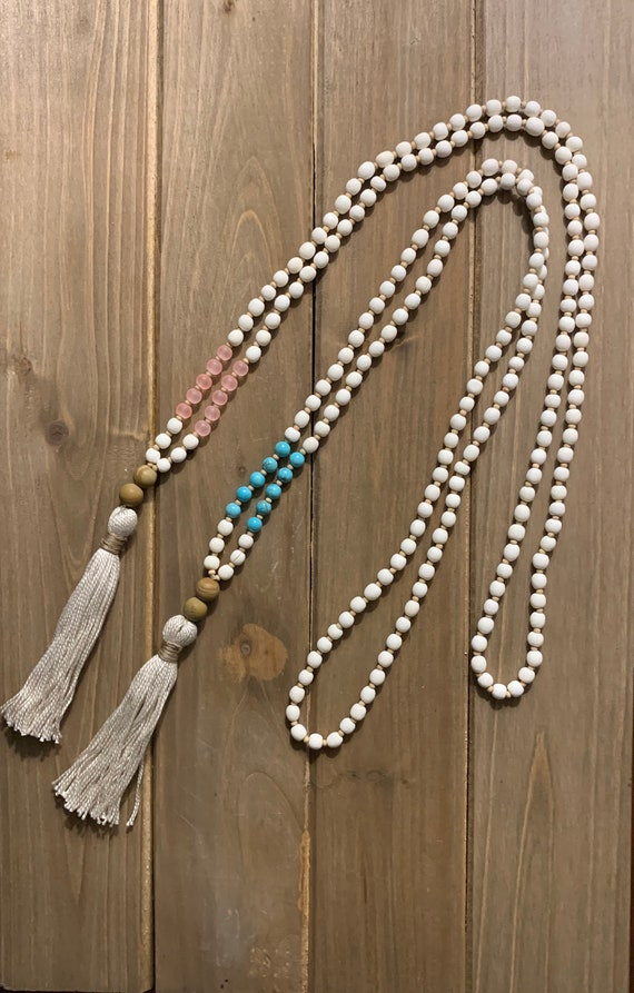 wooden beads Long chain tassel