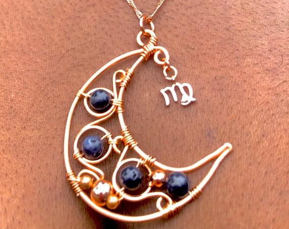 Copper Sapphire Virgo Moon Necklace