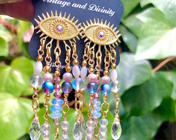 Eye Love ~ Brass Dangle Third Eye Earrings