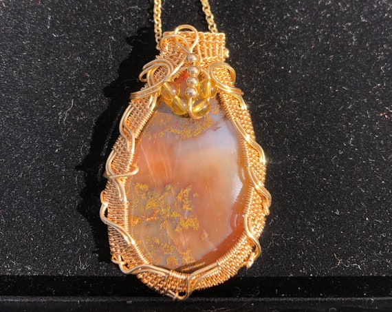 Gold Wire Wrapped Seam Agate Statement Necklace