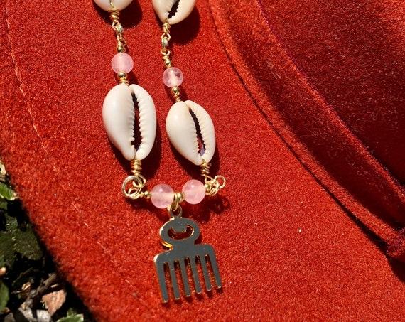 West African Adinkra Duafe and Rose Quartz Necklace