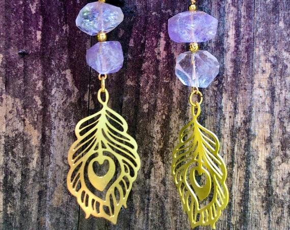 The Divine Goddess - Amethyst Brass Peacock Earrings