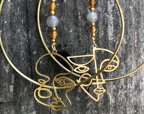 """Changing Faces ~ Brass Abstract """"Faces of Me"""" Hoop Earrings"""