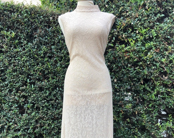 Vintage Lacy Beige A Line Dress with High Collar - Small/Medium