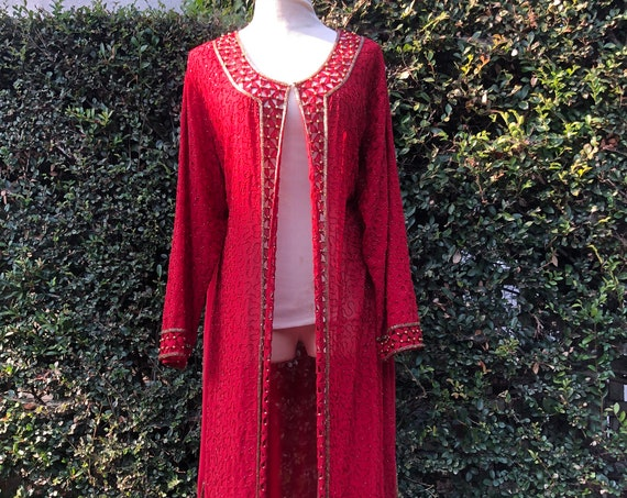 Full Length Red and Gold Beaded Duster