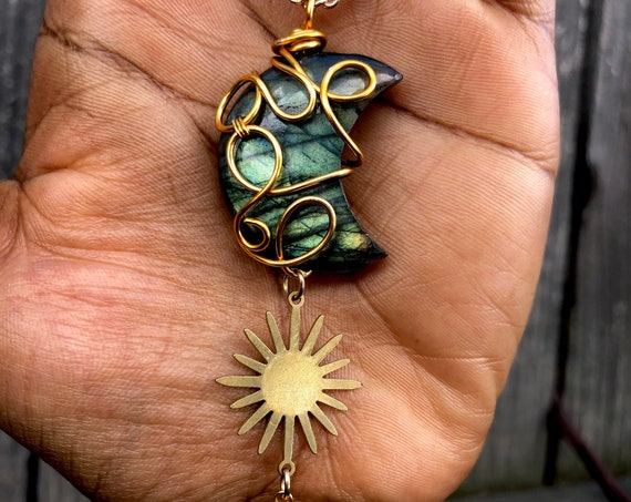 Gold Wire Wrapped Labradorite Moon Necklace /Wearable Art