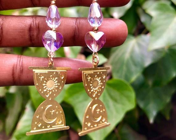 For the Love of Magic - Brass Dangle Earrings