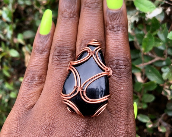 Copper Wire Wrapped Black Onyx Statement Ring Size 8 1/2