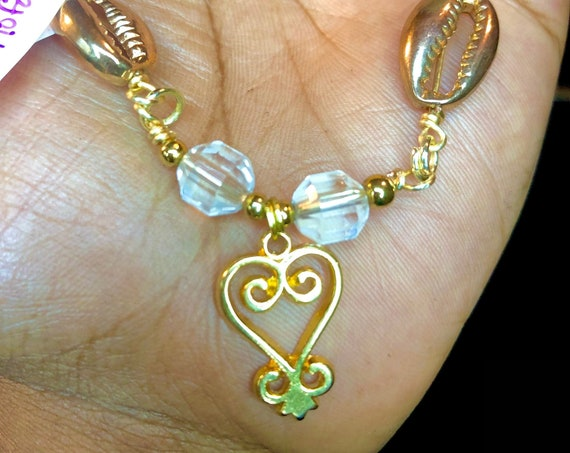 West African Adinkra Sankofa Charm and Clear Quartz Anklet