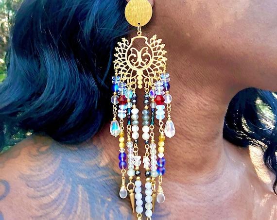 A Wedding in Mumbai/ Earrings of Opulence / Long Crystal Dangling Earrings