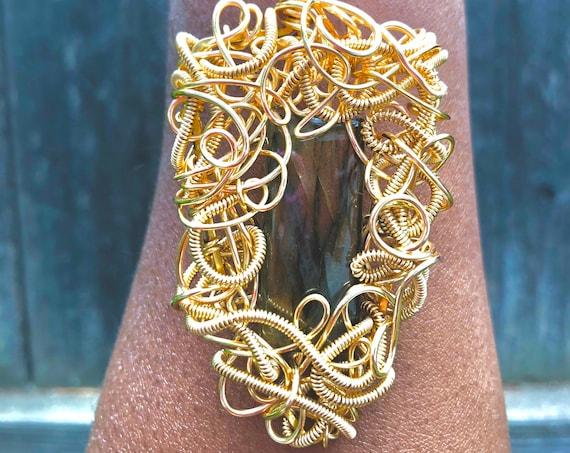 Labradorite Wire Wrapped Necklace - Feminine Divine Wearable Art