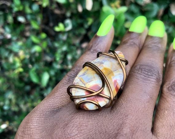 Antique Copper Wire Wrapped Birds Eye Jasper Statement Ring Size 6 1/2