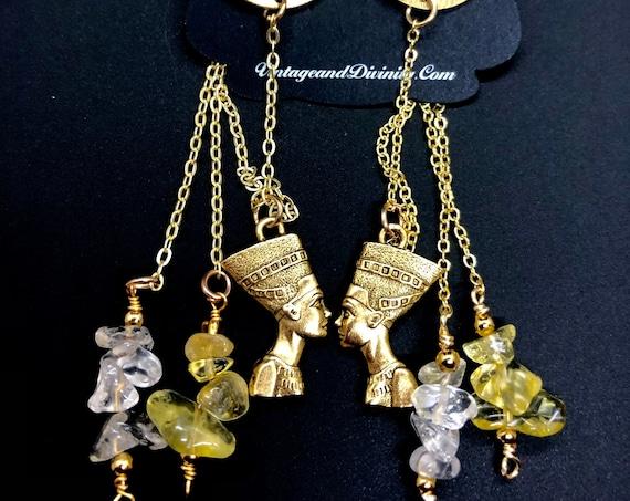 Queen Nefertiti Citrine and Quartz~ Ear Jacket Earrings