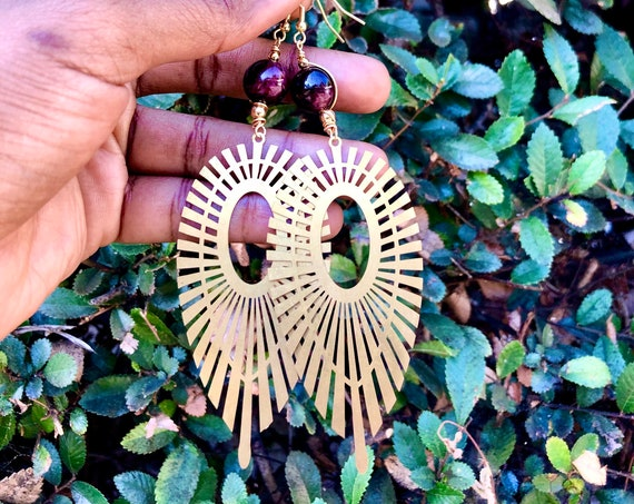Garnet Marquise Amethyst Statement Earrings