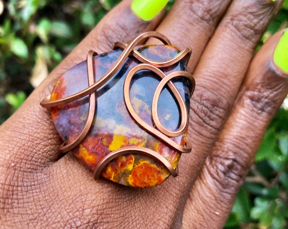 Copper Wire Wrapped Seam Agate Statement Ring Size 7